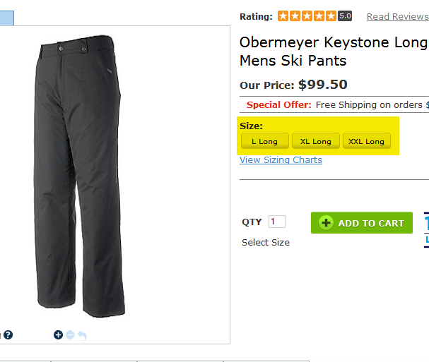 Obermeyer Keystone Long Mens Ski Pants - square