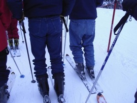 Friends don't let friends wear jeans while skiing.